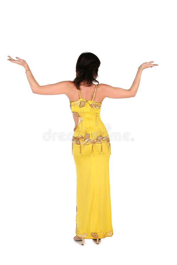 Mulher de Bellydance no estilo amarelo 2 de Egipto foto de stock royalty free