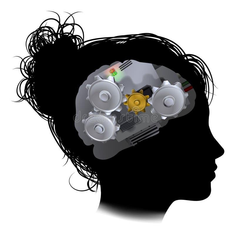 Mulher de Brain Machine Workings Gears Cogs ilustração stock