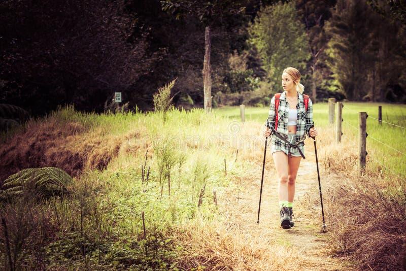 Mulher de caminhada nova foto de stock