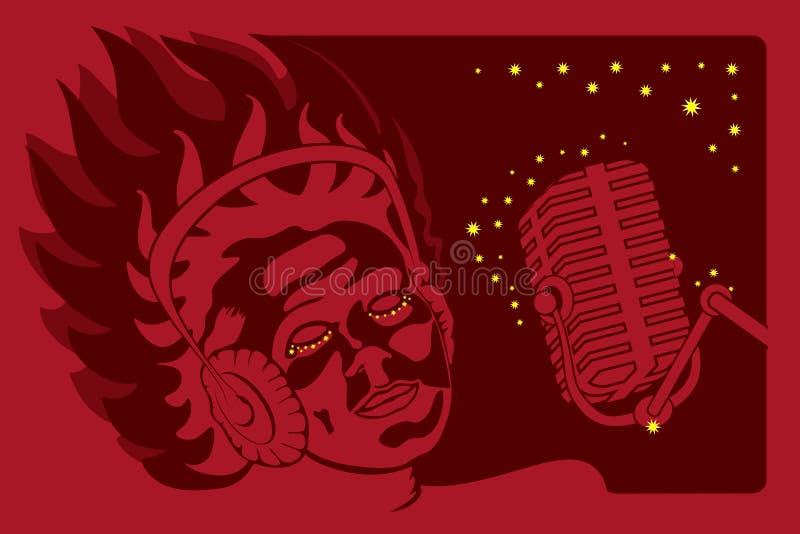 Mulher de canto com microfone e fones de ouvido fotografia de stock