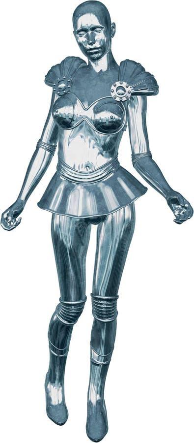 A mulher de Chrome da tecnologia do robô isolou-se ilustração royalty free