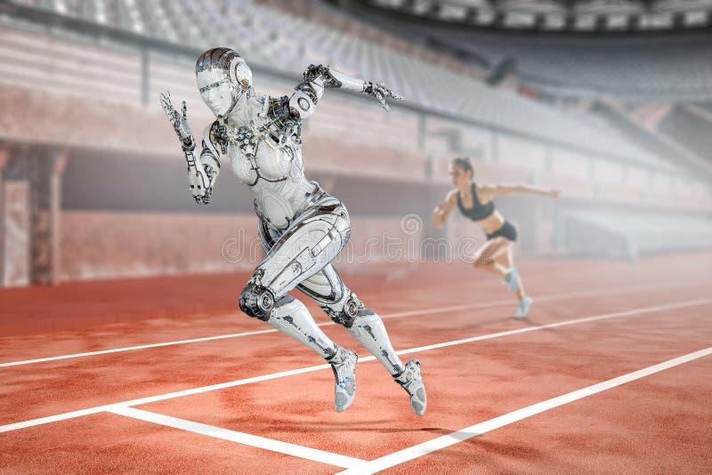 Mulher de corrida de prata do Cyborg Meios mistos foto de stock