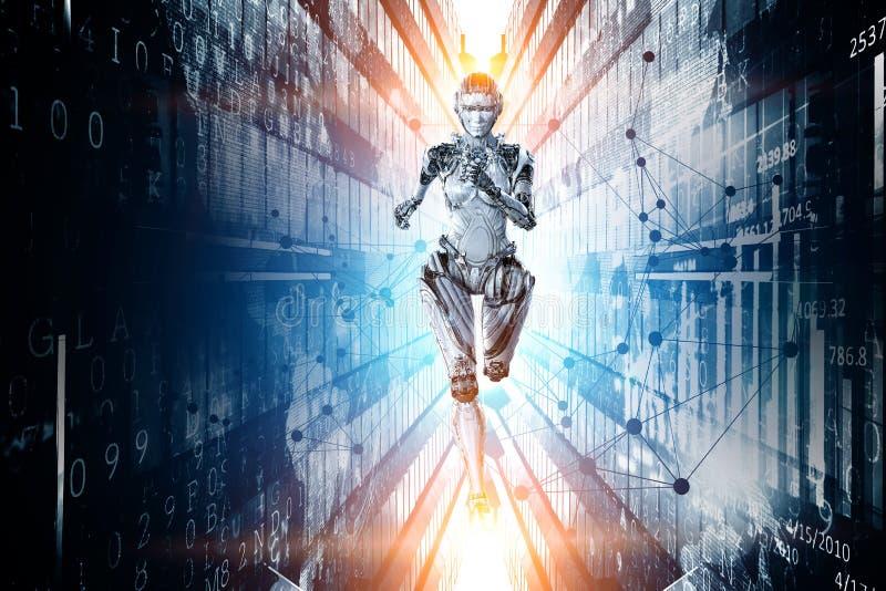 Mulher de corrida de prata do Cyborg Meios mistos imagem de stock