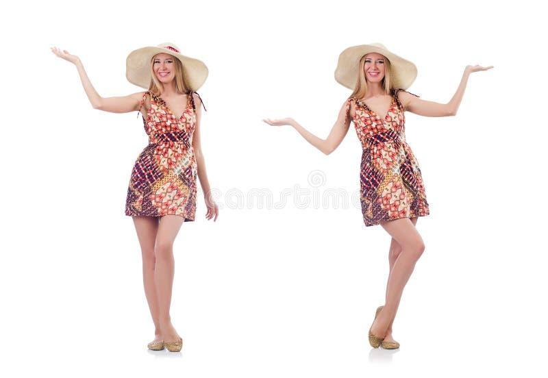 A mulher de dança bonita no vestido do verão que entrega as mãos isoladas no branco fotografia de stock royalty free