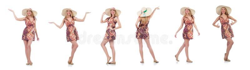 A mulher de dança bonita no vestido do verão que entrega as mãos isoladas no branco imagens de stock royalty free
