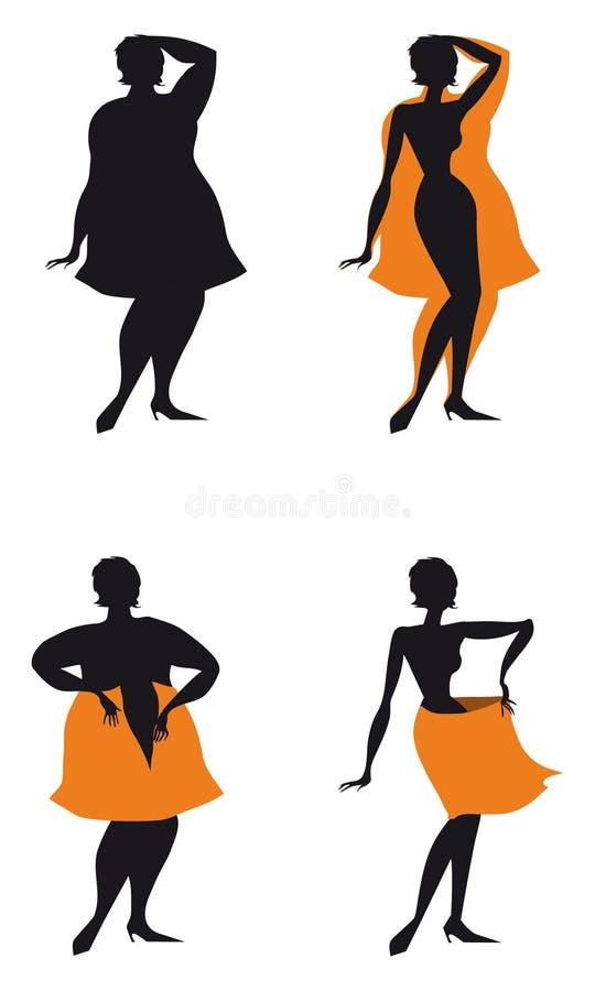 Mulher de dieta de gordo a diluir ilustração stock