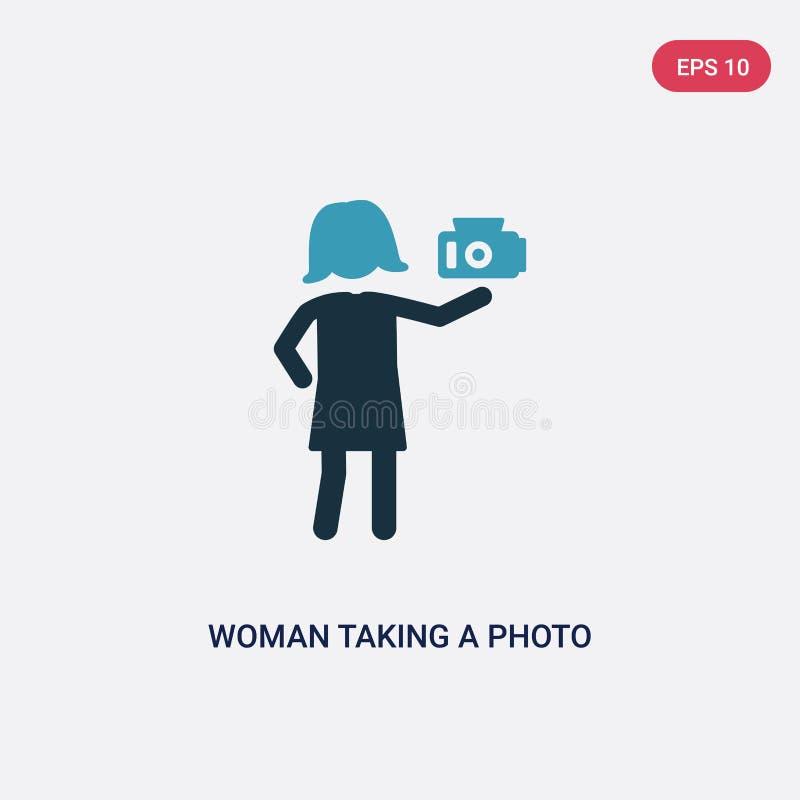 Mulher de duas cores que toma um ícone do vetor da foto do conceito dos povos a mulher azul isolada que toma um símbolo do sinal  ilustração stock