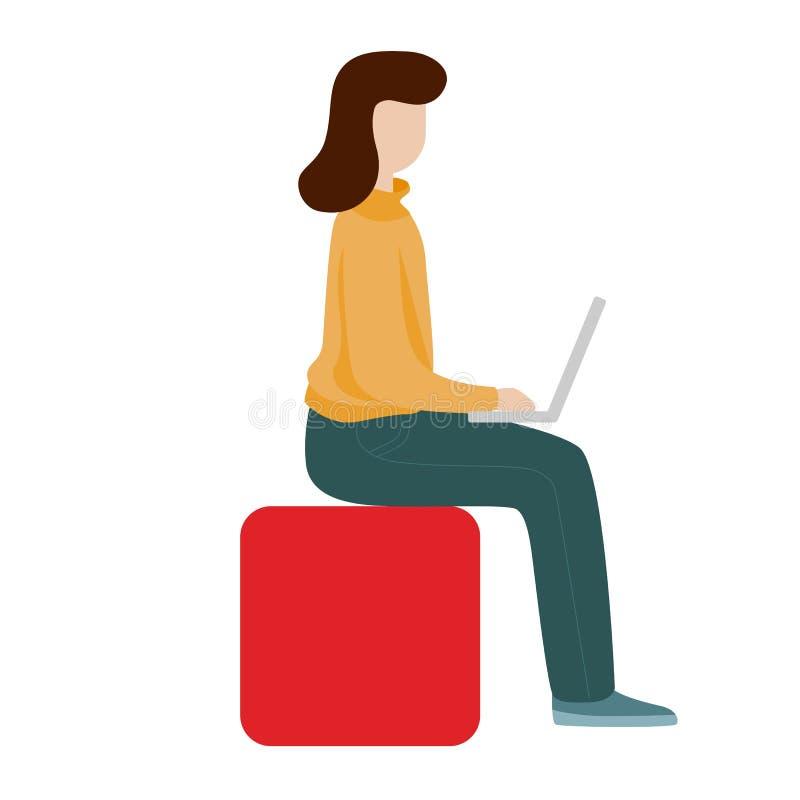 Mulher de funcionamento que senta-se com um computador Conceito social da rede Trabalho remoto autônomo ilustração royalty free
