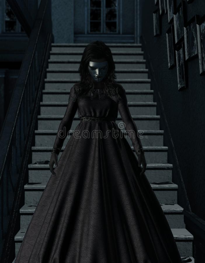 Mulher de Ghost na casa assombrada ilustração do vetor