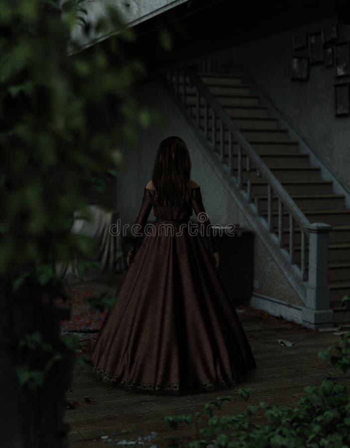 Mulher de Ghost na casa assombrada ilustração royalty free