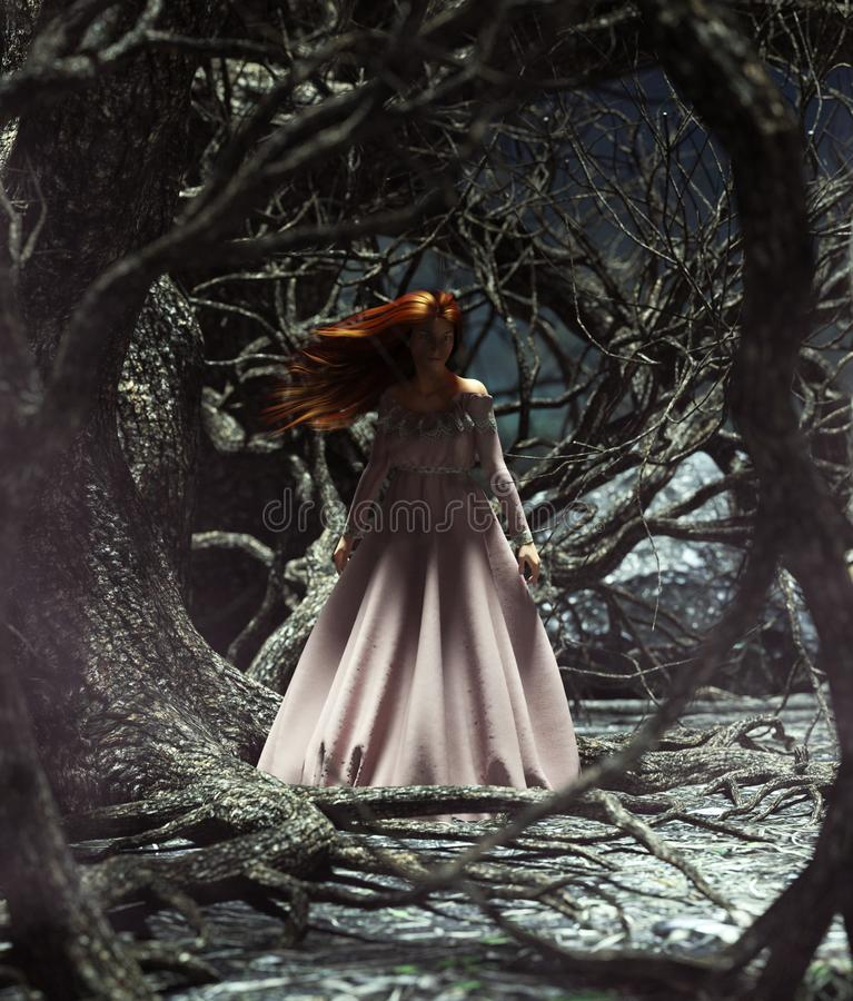 Mulher de Ghost nas madeiras ilustração royalty free