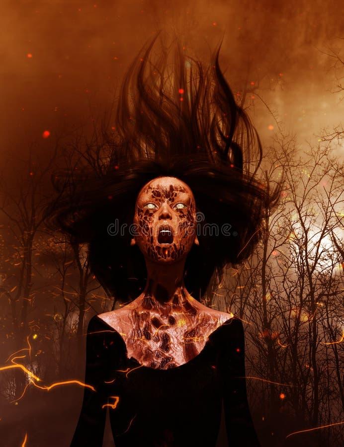 Mulher de Ghost que grita nas madeiras ilustração stock