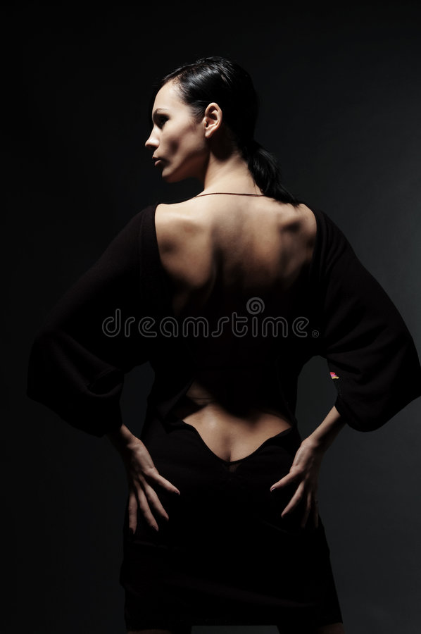 Mulher de Glamor no vestido com parte traseira despida imagens de stock