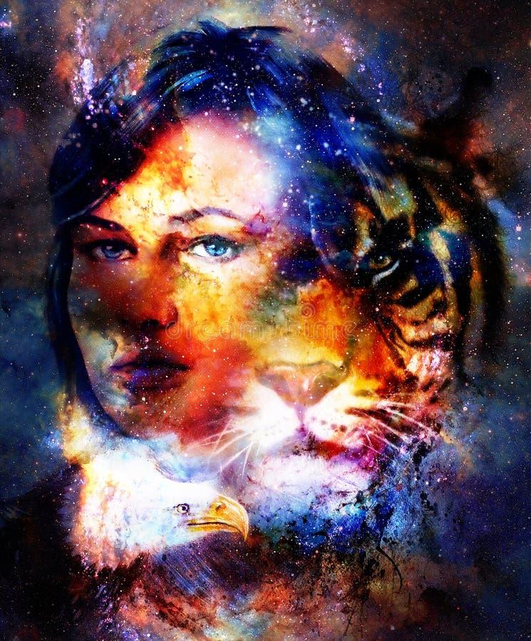 Mulher de Goodnes e tigre e águia Fundo cósmico do espaço ilustração stock