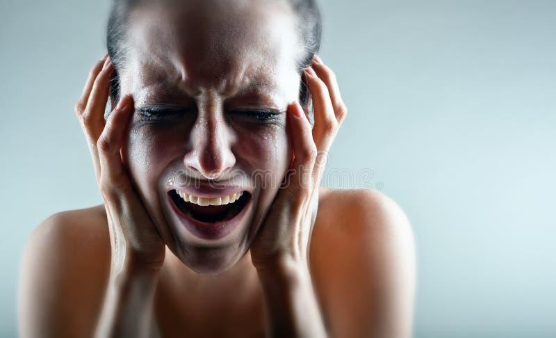 Mulher de grito imagens de stock