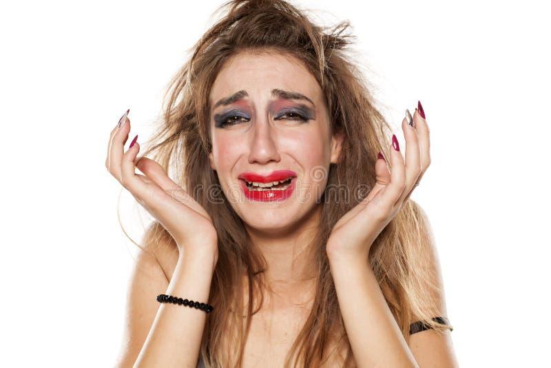 Mulher de grito fotografia de stock