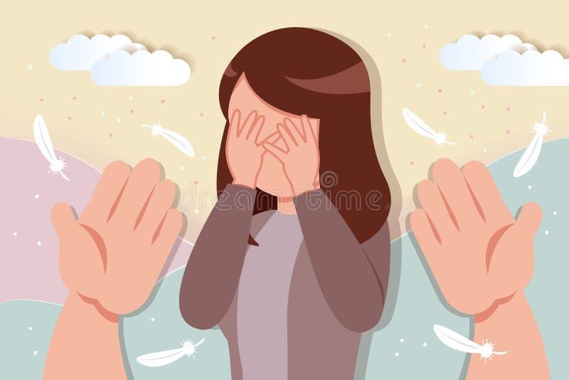Mulher de grito do conforto ilustração stock