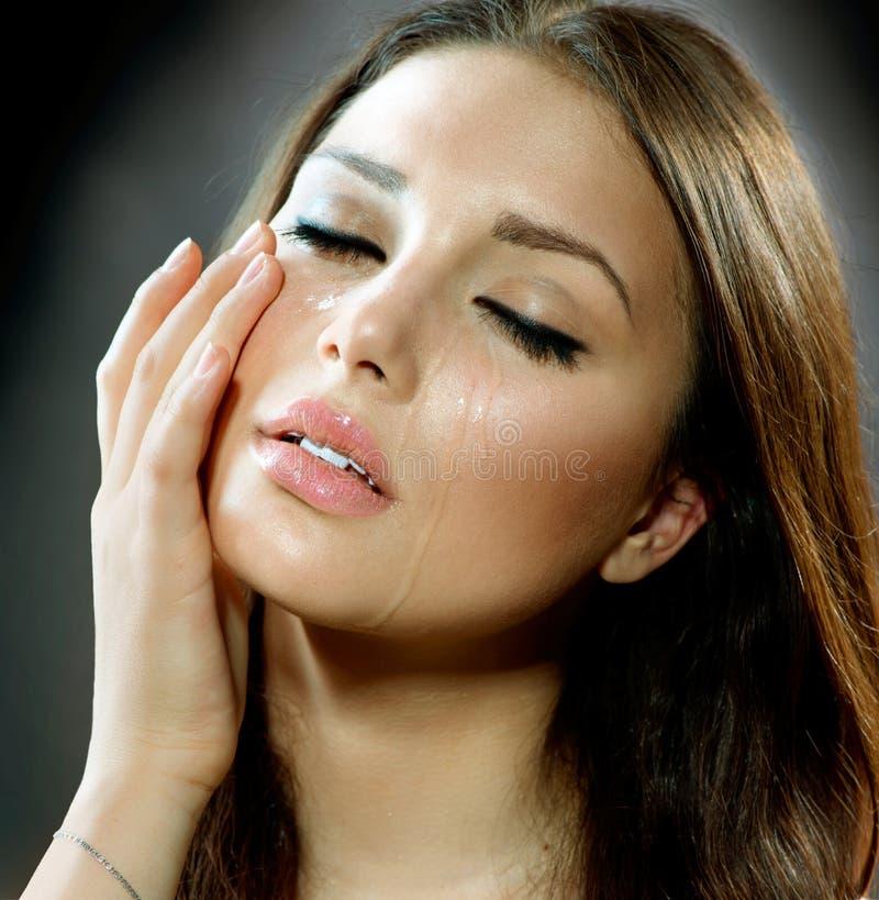 Mulher de grito. Rasgos. fotografia de stock royalty free