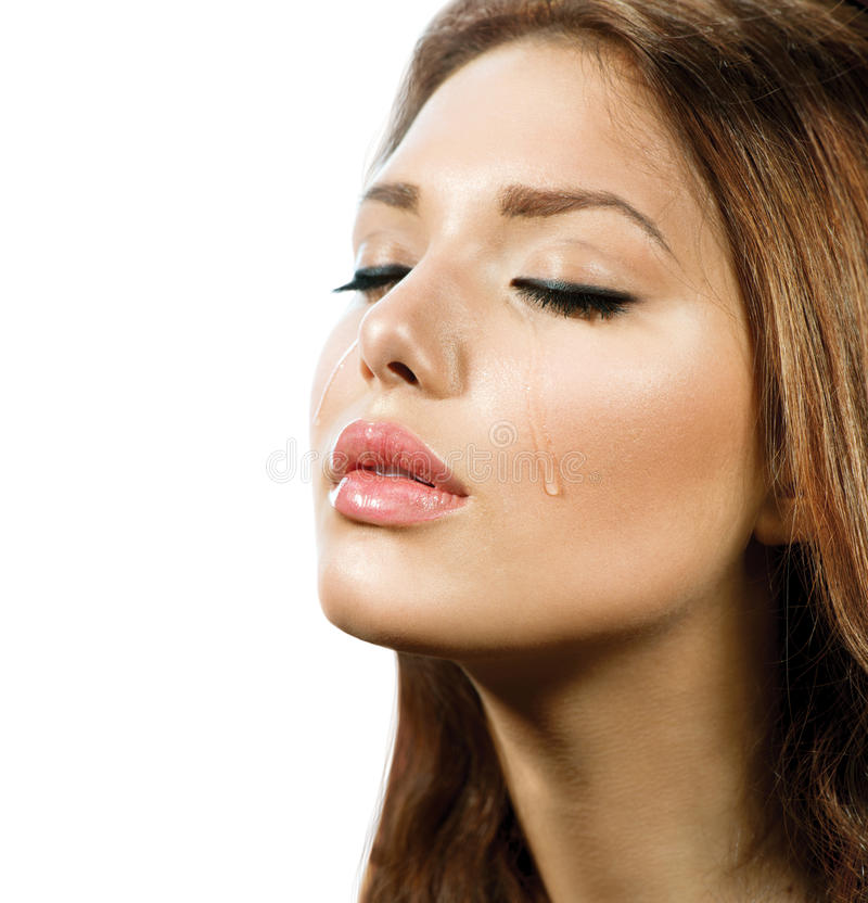 Mulher de grito. Rasgos. foto de stock