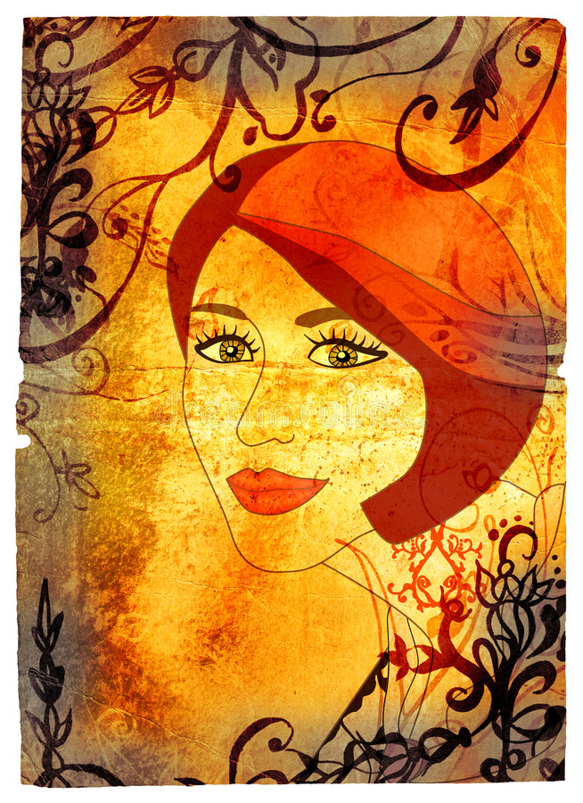 Mulher de Grunge na textura dos redemoinhos ilustração do vetor