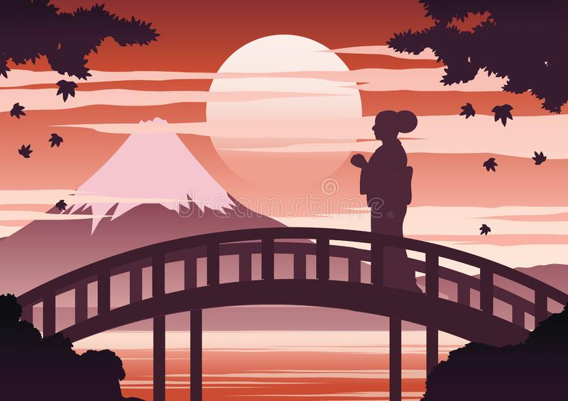 Mulher de Japão no suporte do vestido do quimono na ponte perto da montagem de Fuji no tempo do por do sol quando queda do bordo, ilustração stock