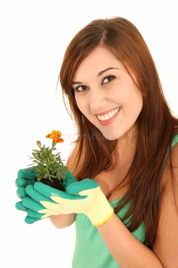 Mulher de jardinagem bonita foto de stock royalty free