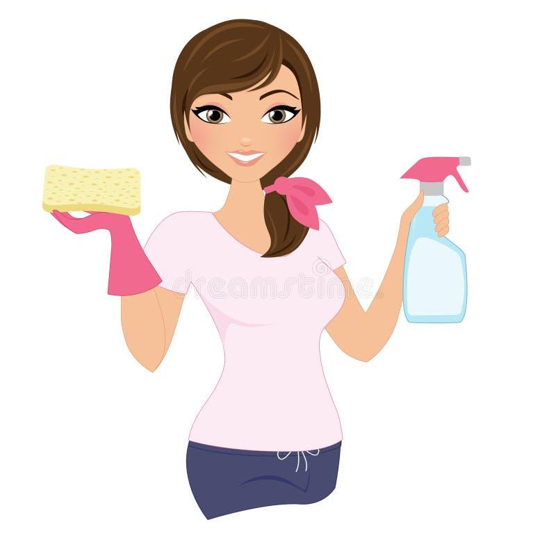 Mulher de limpeza ilustração royalty free
