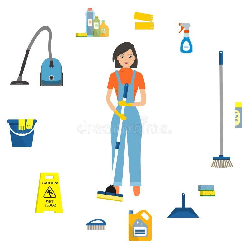 Mulher de limpeza cercada por objetos para limpar ilustração royalty free