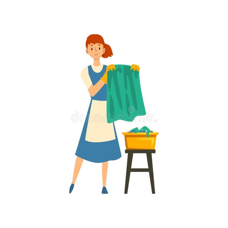 Mulher de limpeza que pendura a roupa molhada limpa para fora para secar, a empregada dom?stica Character Wearing Uniform com ves ilustração do vetor