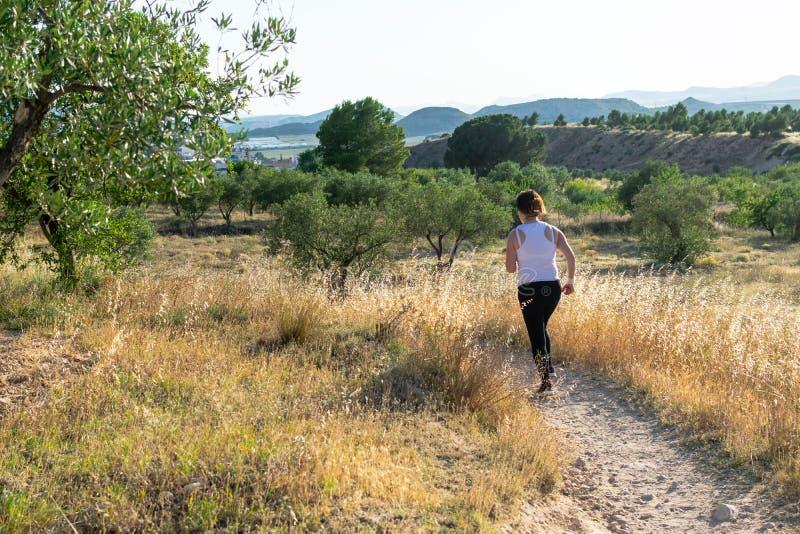 Mulher de meia idade apta que corre atrav?s de um campo rural fotos de stock royalty free