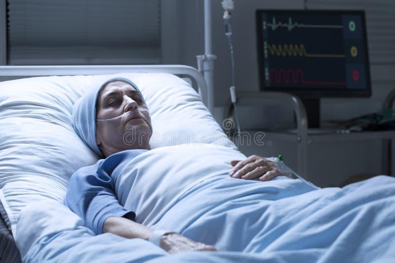 Mulher de meia idade com morte do câncer fotografia de stock
