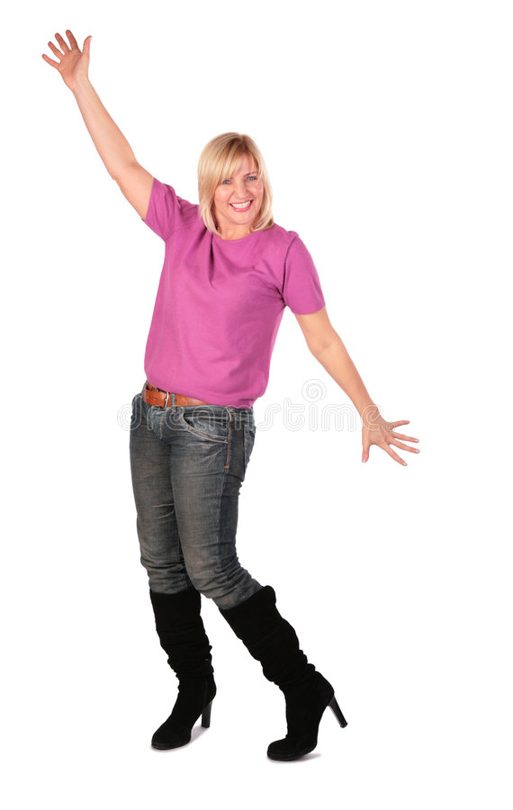 A mulher de meia idade está a dança 3 imagem de stock