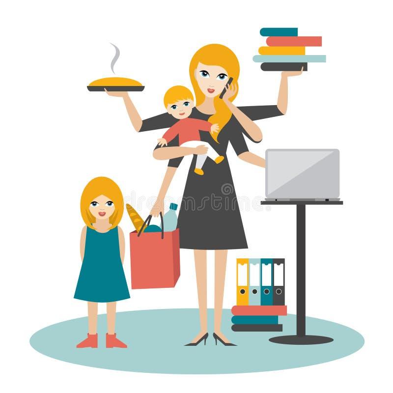 Mulher de Multitask Mãe, mulher de negócios com bebê, criança mais idosa, funcionamento, coocking e chamando ilustração stock