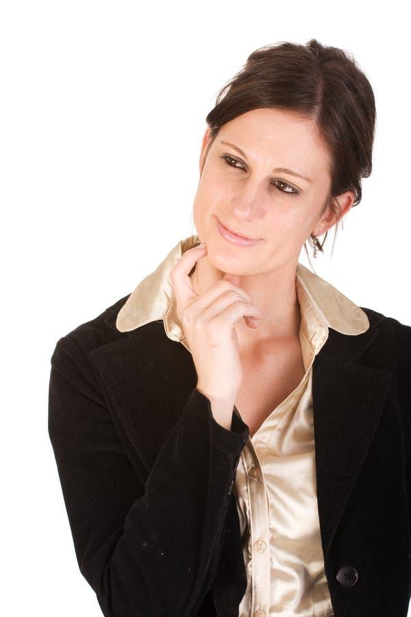 Mulher de negócio adulta nova atrativa no pensamento imagem de stock royalty free