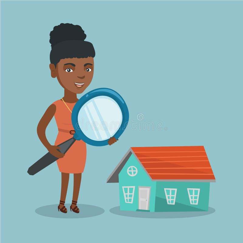 Mulher de negócio africana nova que procura uma casa ilustração stock