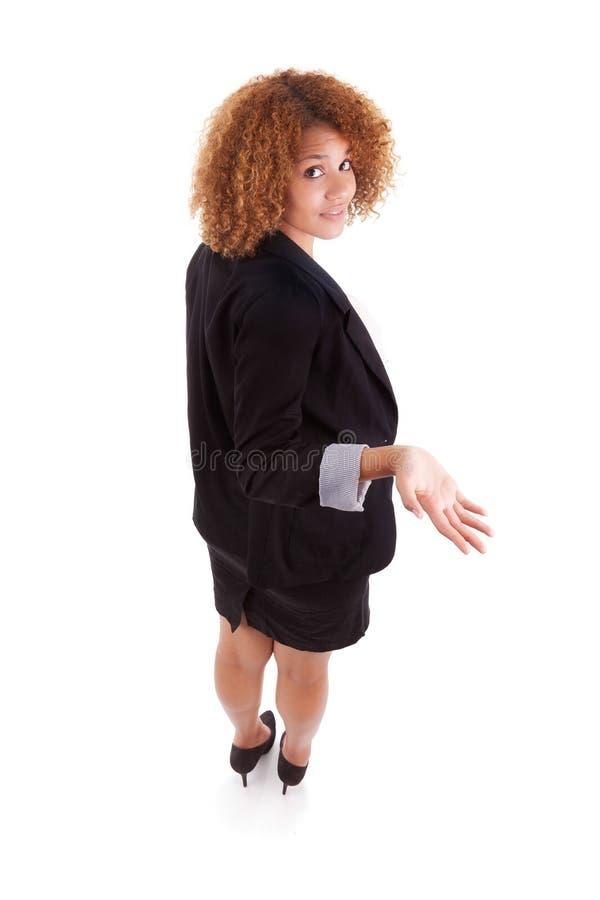 Mulher de negócio afro-americano perdida - povos africanos imagem de stock