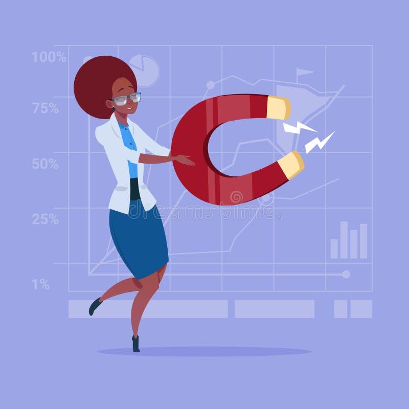 Mulher de negócio afro-americano que guarda o ímã que puxa o conceito das ideias do sucesso ilustração royalty free