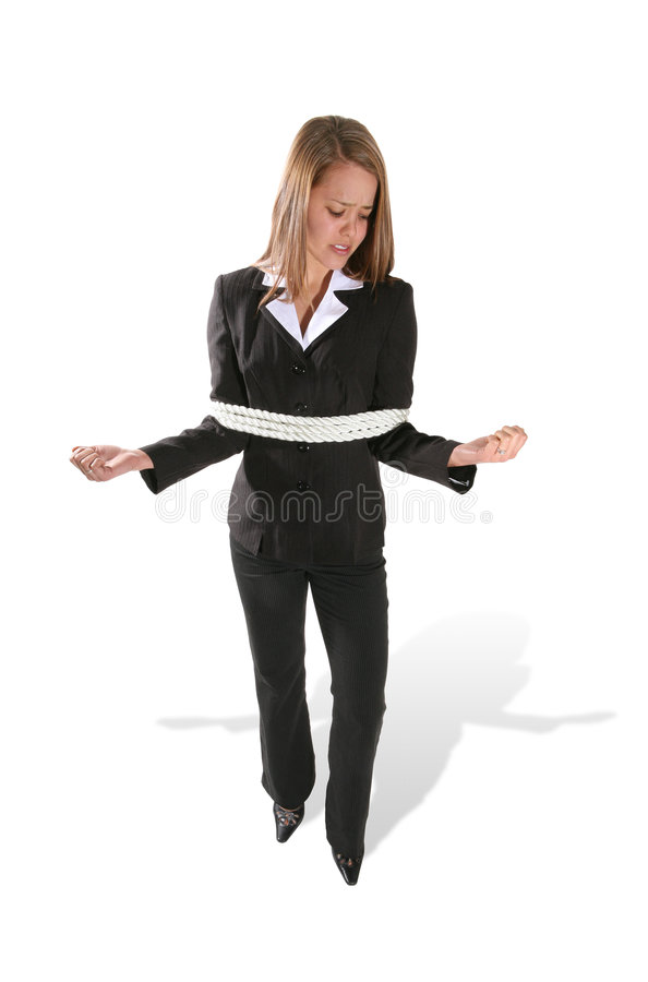 Mulher de negócio amarrada fotos de stock royalty free