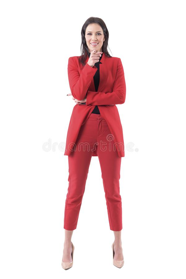 Mulher de negócio amigável de sorriso dos recursos humanos que aponta o dedo que mostra o para juntar-se à equipe fotos de stock