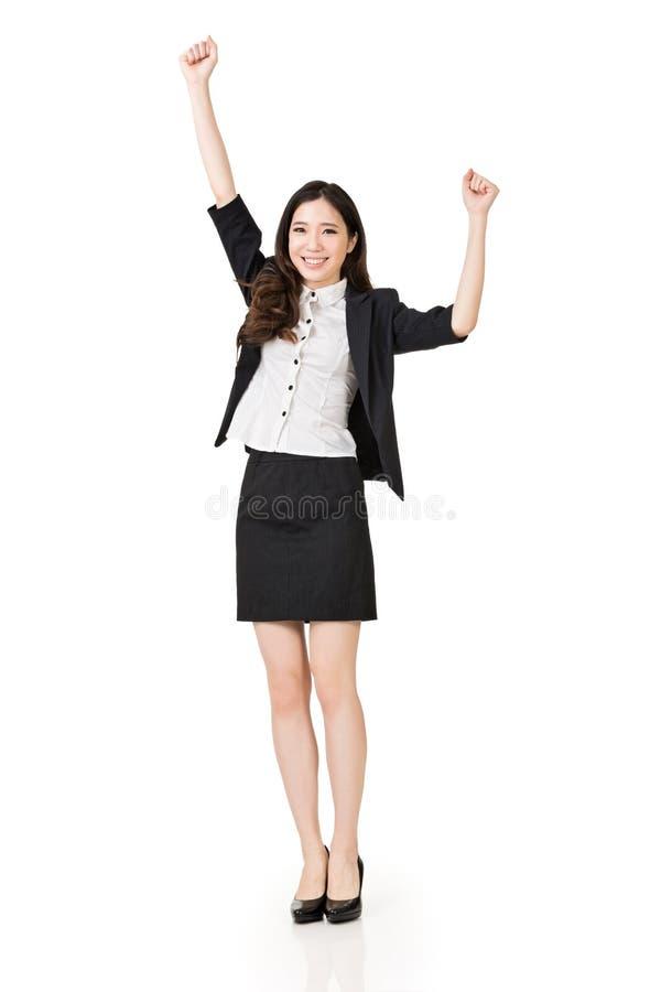 Mulher de negócio asiática entusiasmado foto de stock royalty free