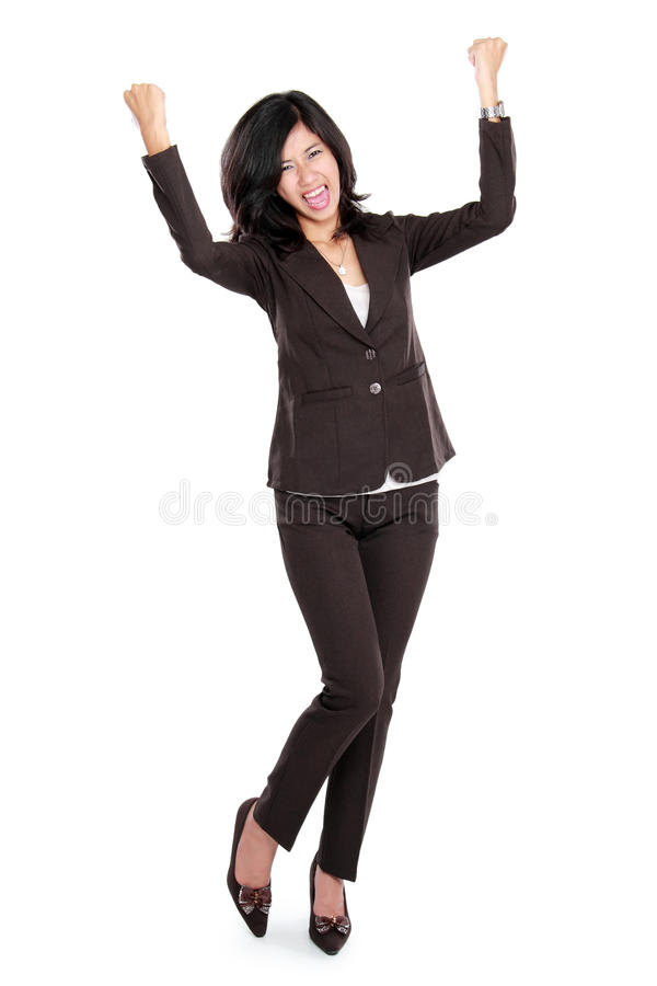 Mulher de negócio asiática feliz entusiasmado imagens de stock