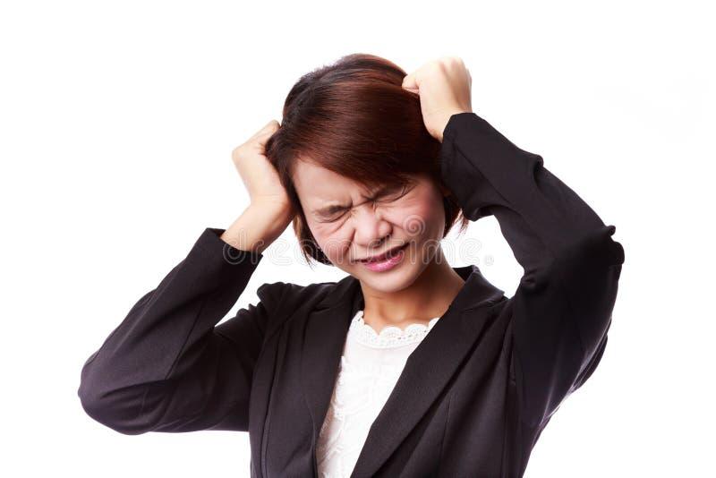 Mulher de negócio asiática frustrada e forçada imagens de stock