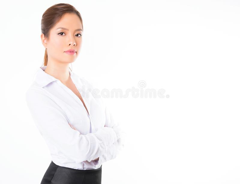 Mulher de negócio asiática no fundo branco com espaço da cópia imagens de stock royalty free
