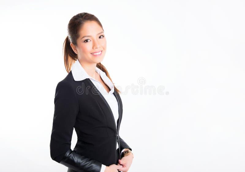 Mulher de negócio asiática no fundo branco com espaço da cópia imagem de stock royalty free