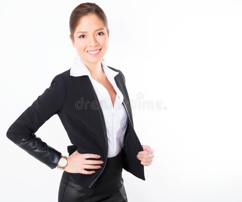 Mulher de negócio asiática no fundo branco com espaço da cópia fotos de stock royalty free