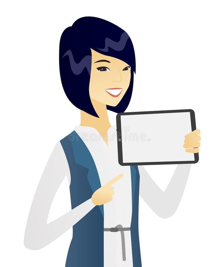 Mulher de negócio asiática nova que guarda o tablet pc ilustração do vetor