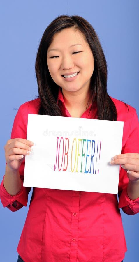 Mulher de negócio asiática - oferta de trabalho fotografia de stock
