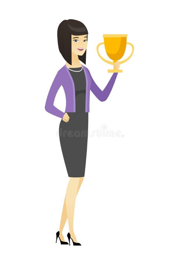 Mulher de negócio asiática que guarda um troféu ilustração stock