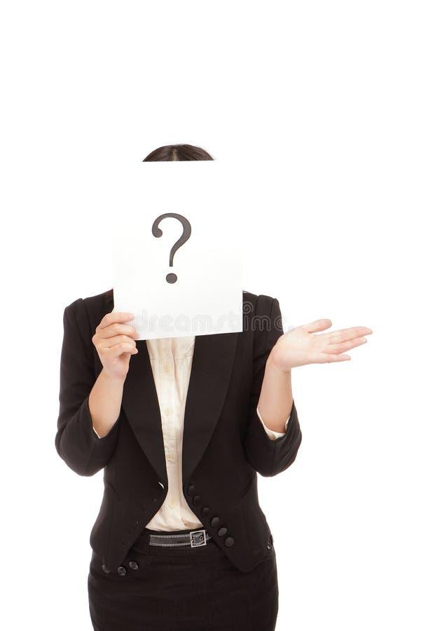 A mulher de negócio (asiática) tem uma pergunta foto de stock royalty free