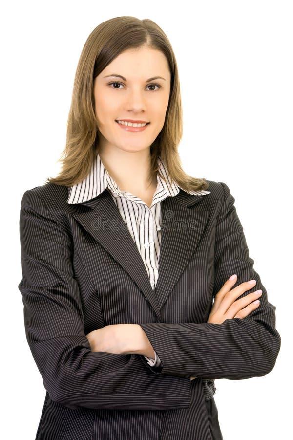 Mulher de negócio atrativa. Isolado no branco imagens de stock royalty free